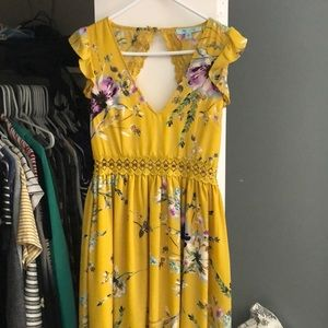 Yellow floral hi-lo dress
